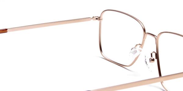 Gold Tortoiseshell Rectangular Glasses, Eyeglasses -5