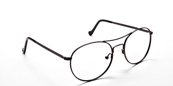Gunmetal Round Glasses, Eyeglasses -2