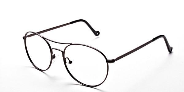 Gunmetal Round Glasses, Eyeglasses -3