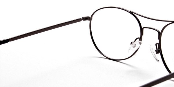 Gunmetal Round Glasses, Eyeglasses -5