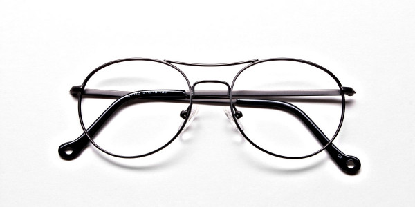 Gunmetal Round Glasses, Eyeglasses -6