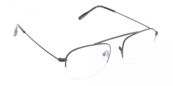 Trendy Designer Half-rimmed Black Frame UK-2