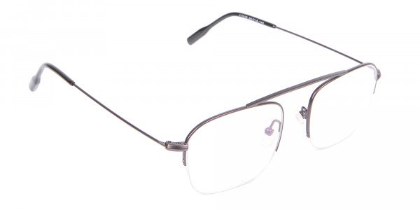 Gunmetal Browbar Half Rim Glasses Online UK-2