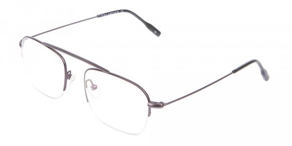 Gunmetal Browbar Half Rim Glasses Online UK-3