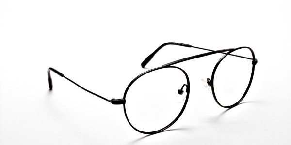 Glasses Without Nose Bridge in Black Metal - 2