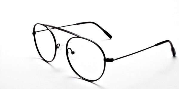 Glasses Without Nose Bridge in Black Metal - 3