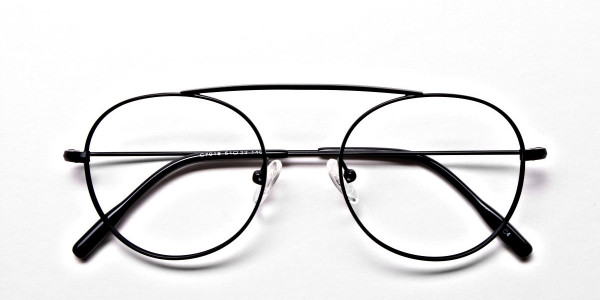 Glasses Without Nose Bridge in Black Metal - 6