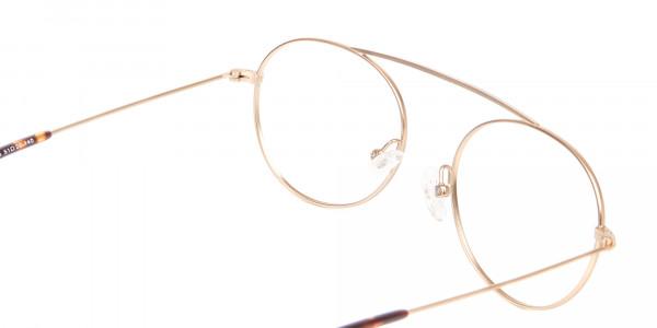 Gold Bridgeless Round Retro Frame Online UK-5