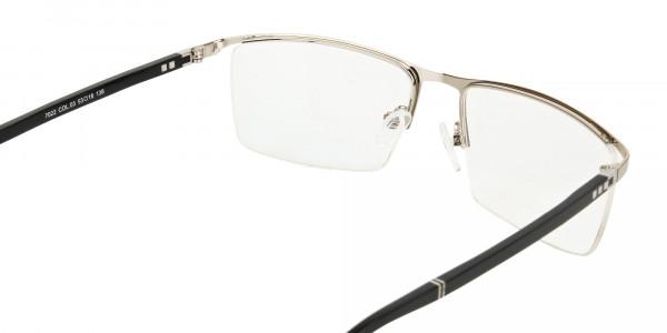 Silver and Black Semi-Rim Glasses-5