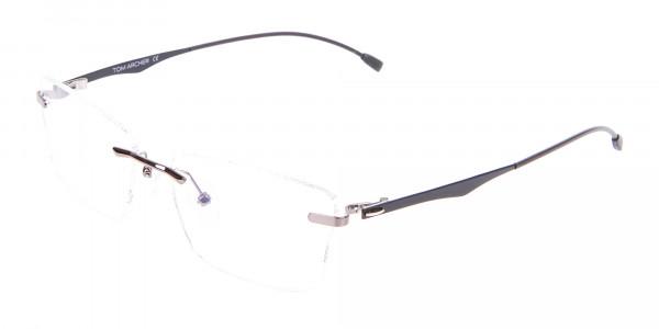 Gunmetal Rimless Rectangular Frame UK-3