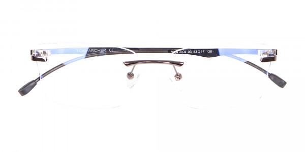 Gunmetal Rimless Rectangular Frame UK-6