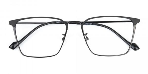 Black Wayfarer Glasses in Lightweight Metal -6