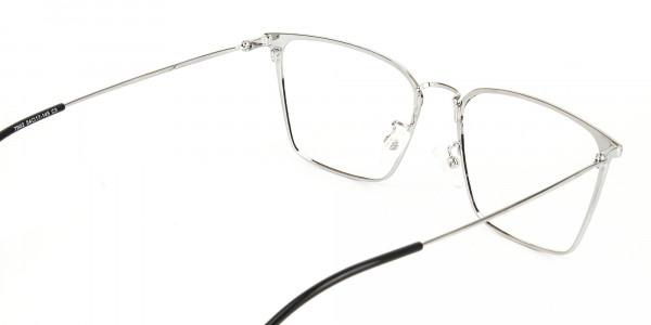 Silver Wayfarer Glasses in Lightweight Metal-5