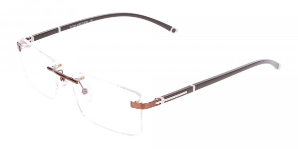 Brown Rectangular Rimless Glasses with Pattern-3