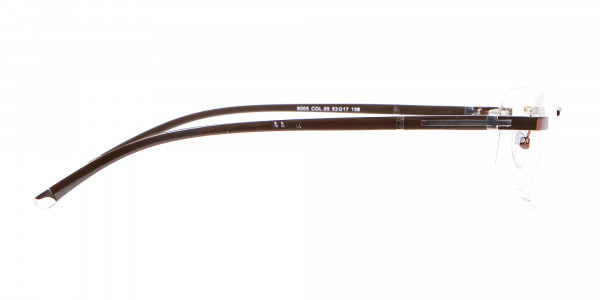 Brown Rectangular Rimless Glasses with Pattern-4