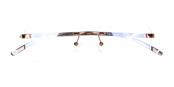 Brown Rectangular Rimless Glasses with Pattern-5