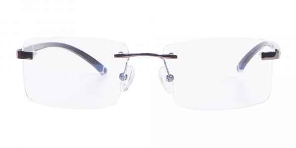 Gunmetal Rimless Glasses For Formal Style-1