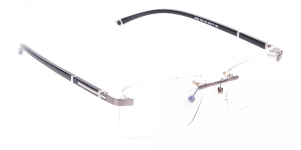 Gunmetal Rimless Glasses For Formal Style-2