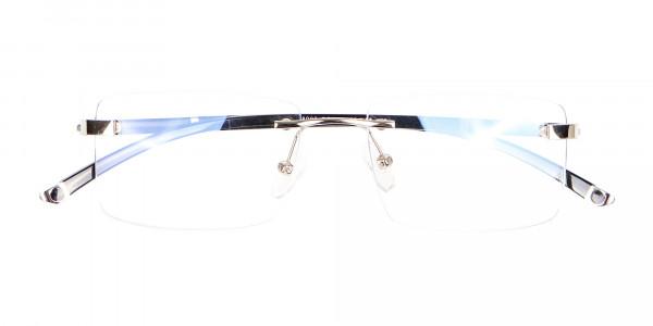 Silver Rectangular Rimless Glasses, Online UK-6