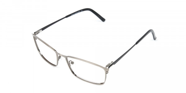 Gunmetal Rectangular Glasses with Black Temple-3