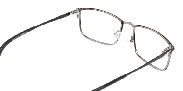 Gunmetal Rectangular Glasses with Black Temple-5