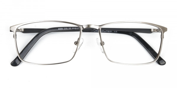 Gunmetal Rectangular Glasses with Black Temple-6
