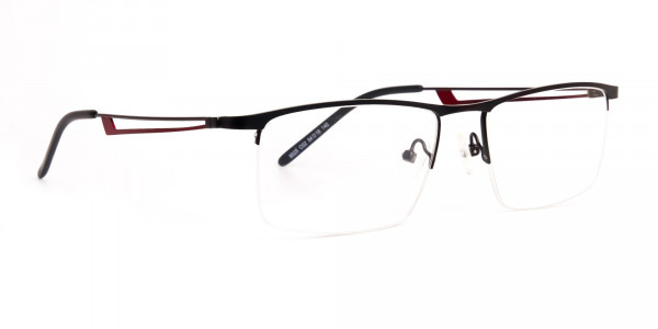 black and red half-rim rectangular glasses frames-2
