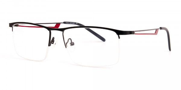 black and red half-rim rectangular glasses frames-3