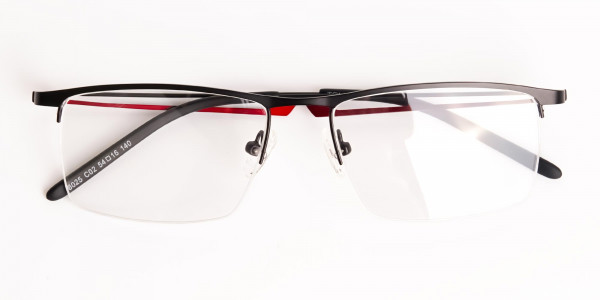 black and red half-rim rectangular glasses frames-6