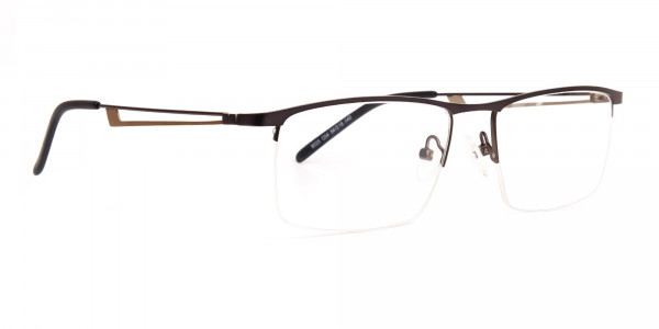 black and silver half-rim rectangular glasses frames -2
