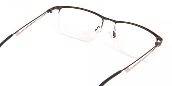 black and silver half-rim rectangular glasses frames -5