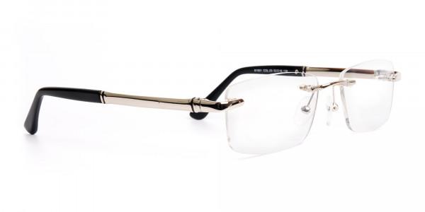 silver and black rectangular rimless glasses frames-2