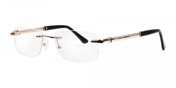 silver and black rectangular rimless glasses frames-3