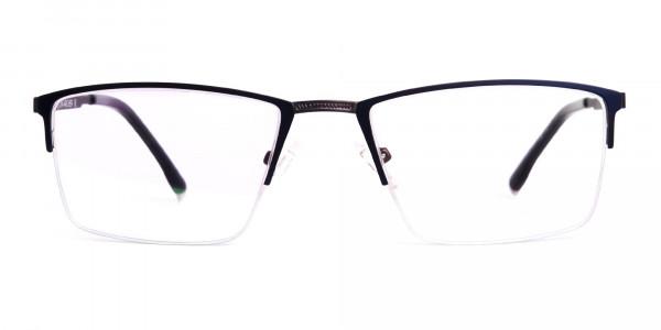 navy blue half-rim rectangular glasses frames-1