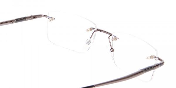 Gunmetal Rimless Lightweight Glasses Online-5