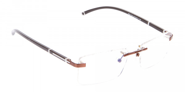 Brown Rectangular Rimless Glasses with Pattern-2