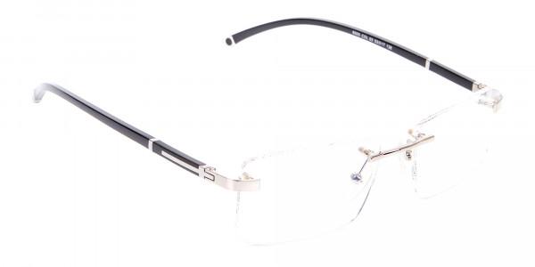 Silver Rectangular Rimless Glasses, Online UK-2