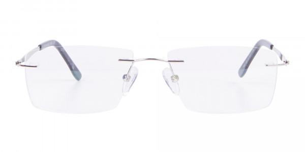 Silver Rectangular Rimless Frame UK-1