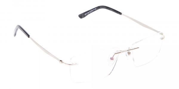 Silver Rectangular Rimless Frame UK-2