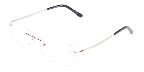 Silver Rectangular Rimless Frame UK-3