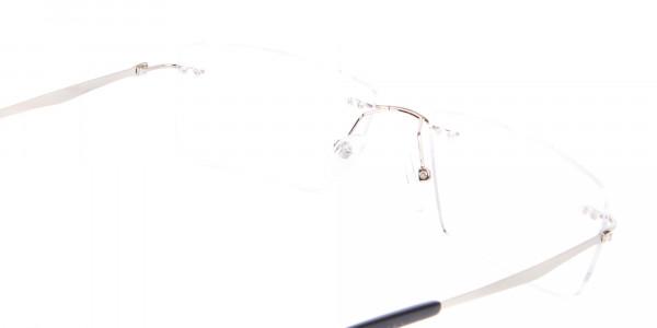 Silver Rectangular Rimless Frame UK-5
