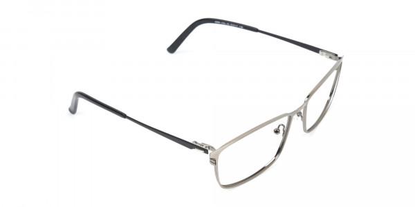 Gunmetal Rectangular Glasses with Black Temple-2