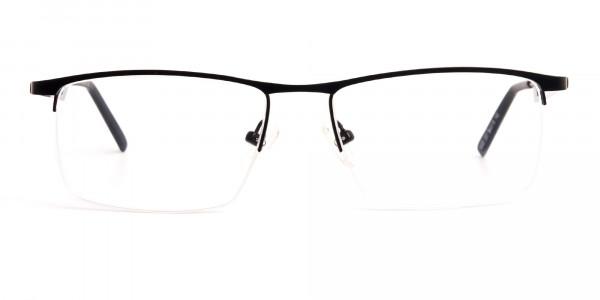 black and rectangular half-rim titanium glasses frames-1