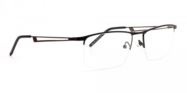 black and rectangular half-rim titanium glasses frames-2