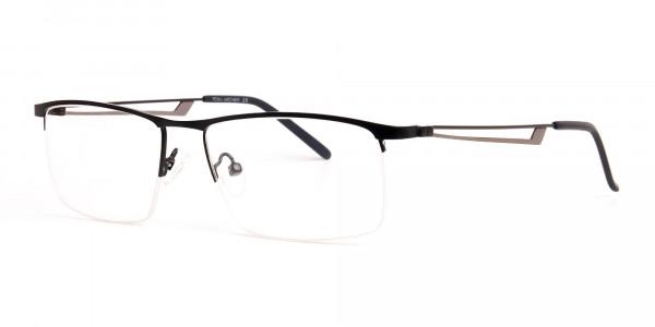 black and rectangular half-rim titanium glasses frames-3