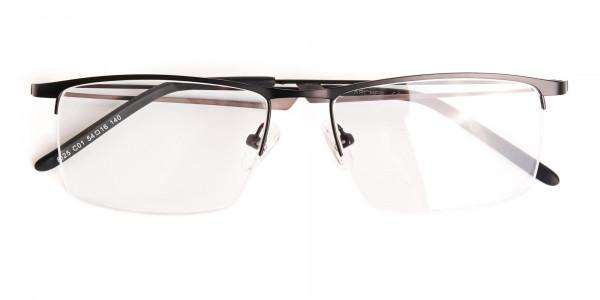 black and rectangular half-rim titanium glasses frames-6