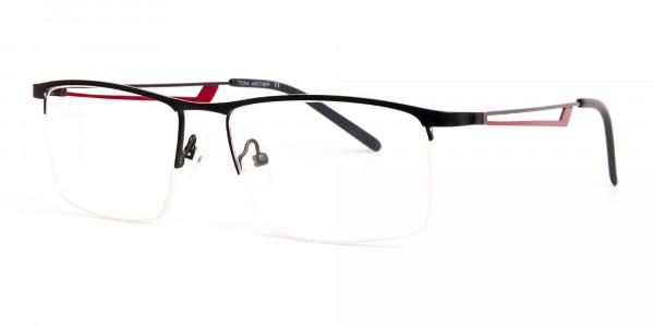 black and red half-rim rectangular glasses frames-3