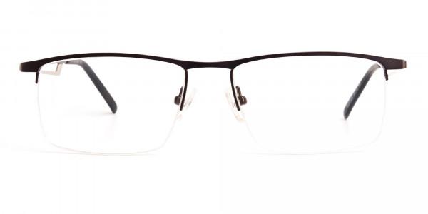 black and silver half-rim rectangular glasses frames -1