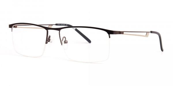 black and silver half-rim rectangular glasses frames -3