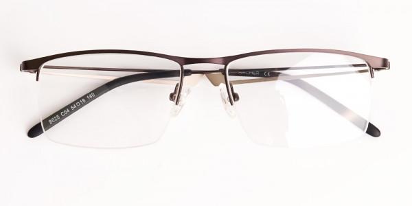 black and silver half-rim rectangular glasses frames -6